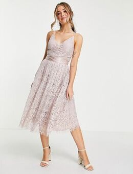 Lace prom dress with wrap waist detail-Pink