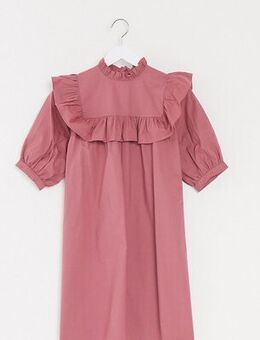 Smock dress with frill detail in dusky pink