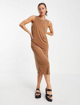 Sleeveless midi dress in brown