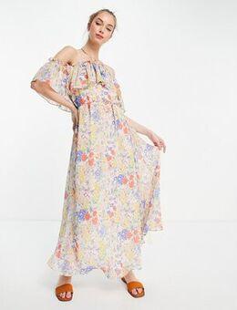 Strappy floral maxi dress in multi