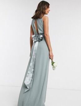 Bridesmaid cowl neck bow back maxi dress dress in sage-Green