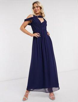 Drape maxi dress in navy