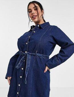 Belted mini dress in denim-Blue