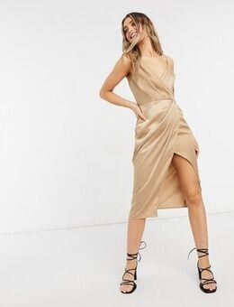 Satin wrap dress in gold