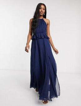 Pleated halter maxi dress with ruffle waist detail in navy