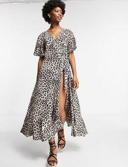 Flutter sleeve wrap tie midi dress in leopard print-Multi
