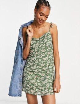 Cami mini dress with cowl neck in floral mesh-Green