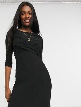 Twist front nursing dress in black