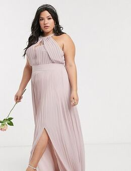 Bridesmaid exclusive pleated maxi dress in pink