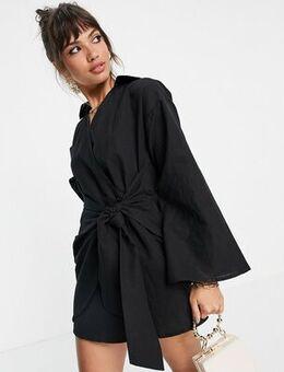 Twist front shirt mini dress in black