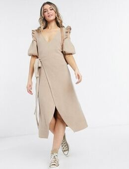 Ruffle cold shoulder wrap tie knitted midi dress in camel-Brown