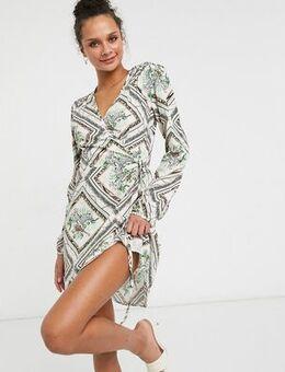 Mini wrap dress in mixed print-Multi