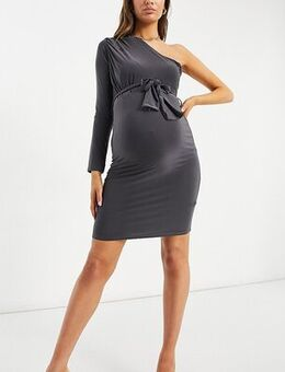 Slinky one shoulder dress with ruched detail in grey