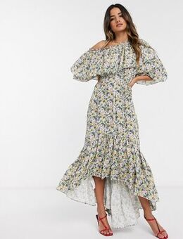 One shoulder dress in floral print-Multi