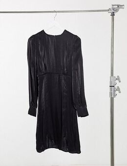 Y.A.S. Tall Shine silky lace trim mini dress in black