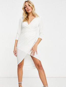 Exclusive wrap velvet mini dress in cream