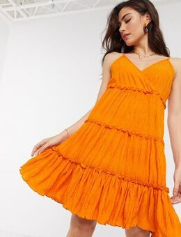 Crinkle mini dress with tiered skirt in orange