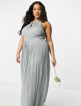 Bridesmaid pleated wrap detail maxi dress in sage-Green