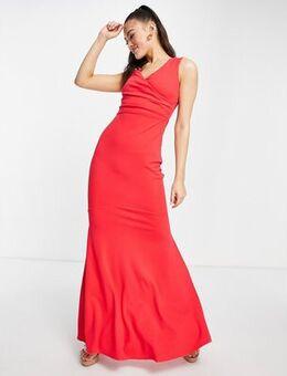 Scuba maxi dress in hot pink