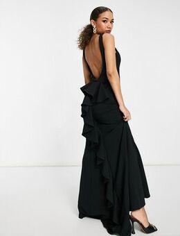 Halterneck fishtail maxi dress in black