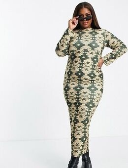 Open back maxi dress in green-Multi