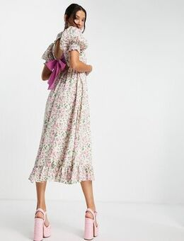 Backless maxi dress with bow in painted floral-Multi