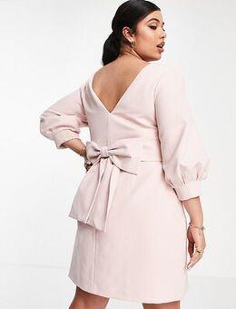 Long sleeve bow back mini dress in blush-Pink