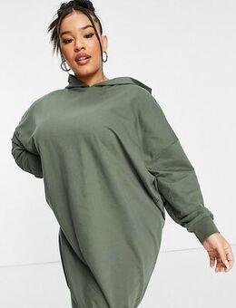 ASOS DESIGN Curve hoodie sweat dress in khaki-Green