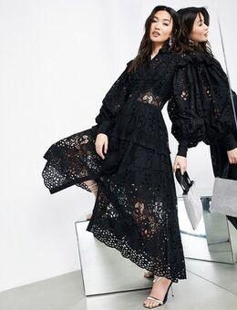 Broderie shirt dress in black