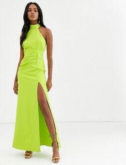 Halterneck maxi dress-Green