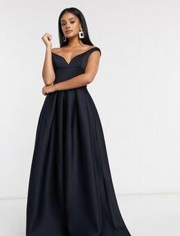 Black Label bardot prom maxi dress with pockets in navy