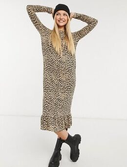 Midaxi smock dress in leopard print-Brown