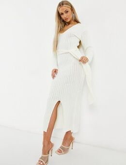 Knitted plunge front belted midi dress in ecru-Cream