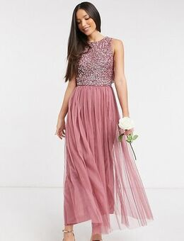 Bridesmaid delicate sequin 2 in 1 midaxi dress in rose-Pink