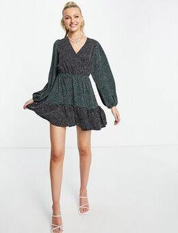 Wrap neck mini dress in polka-Multi