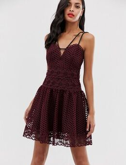 Mini dress in basket weave lace with rope trim-Red