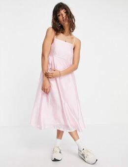 Satin strappy midi dress in pink