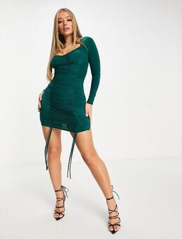Sweetheart neck ruched tie front mini dress in emerald green