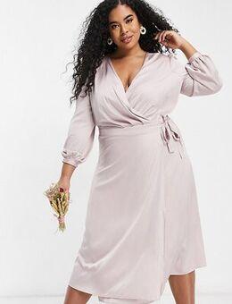 Bridesmaid satin long sleeve wrap front midi dress in mink-Pink