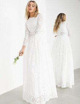 Grace lace crop top wedding dress-White