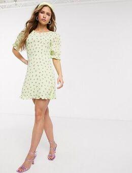 Florence floral mini dress-Green