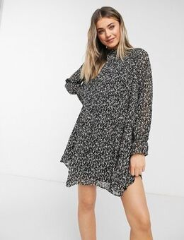 Smock dress with frill neck in ditsy floral-Black