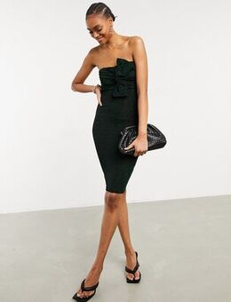 Knot front strapless midi dress in black-Green