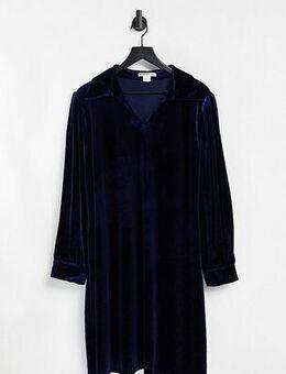 70s mini collared shift dress-Blue