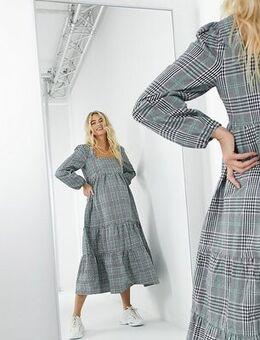 Maxi smock dress in grey check-Multi