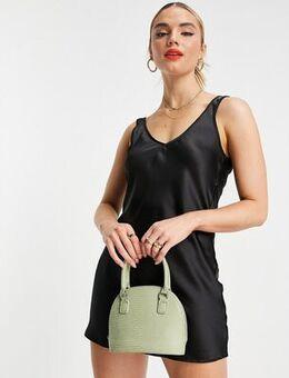 Satin mini slip dress in black