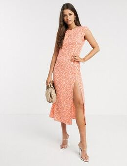 Midaxi dress with thigh split in floral-Orange