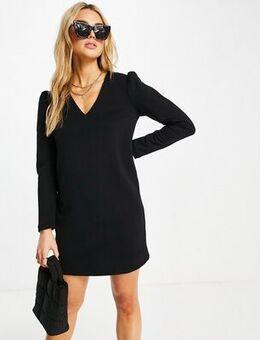 Puff sleeve mini dress in black