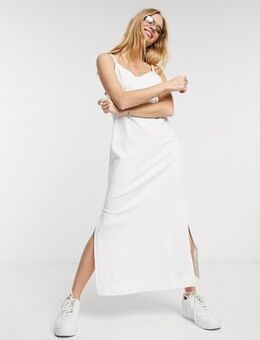 Premium jersey slip dress in white