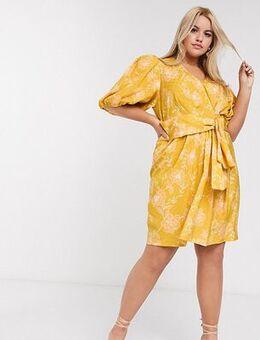 Mini dress in mustard floral-Yellow